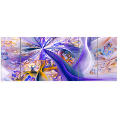 Purple Yellow Fractal Curves Abstract Wall Art - 6Panels