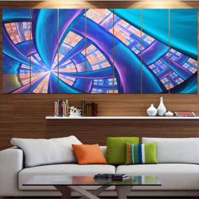 Designart Blue Yellow Fractal Stained Glass Contemporary Canvas Art Print - 5 Panels