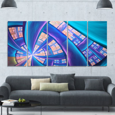 Blue Yellow Fractal Stained Glass Abstract CanvasArt Print - 5 Panels