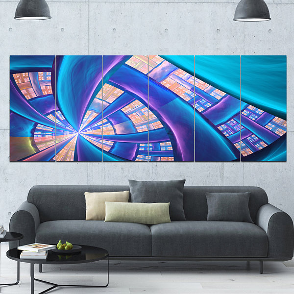 Design Art Blue Yellow Fractal Stained Glass Abstract CanvasArt Print - 6 Panels