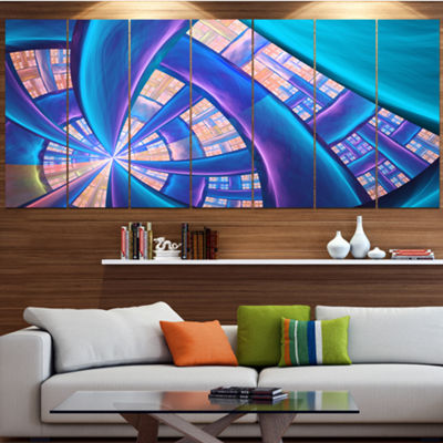Designart Blue Yellow Fractal Stained Glass Abstract CanvasArt Print - 6 Panels