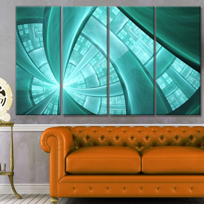 Blue Fractal Stained Glass Abstract Canvas Art Print - 4 Panels