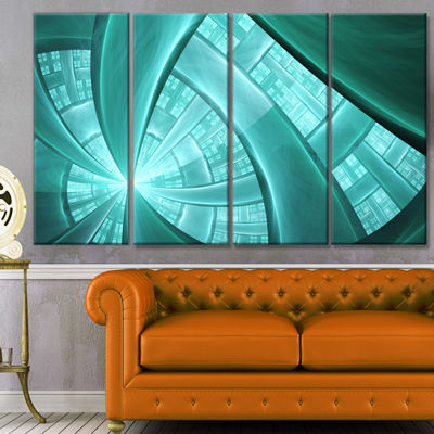 Designart Blue Fractal Stained Glass Abstract Canvas Art Print - 4 Panels