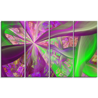 Pink Green Fractal Curves Abstract Canvas Art Print - 4 Panels