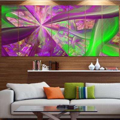 Pink Green Fractal Curves Contemporary Canvas ArtPrint - 5 Panels