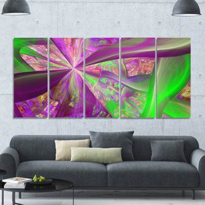 Pink Green Fractal Curves Abstract Canvas Art Print - 5 Panels