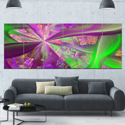 Pink Green Fractal Curves Abstract Canvas Art Print - 6 Panels