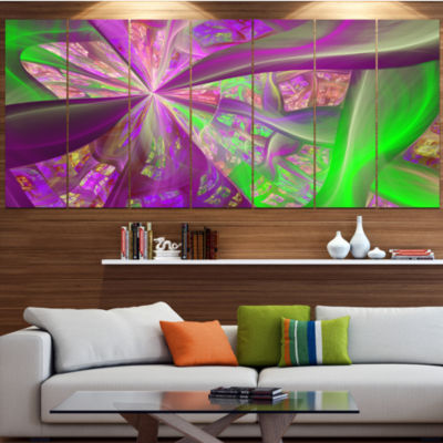 Pink Green Fractal Curves Abstract Canvas Art Print - 7 Panels