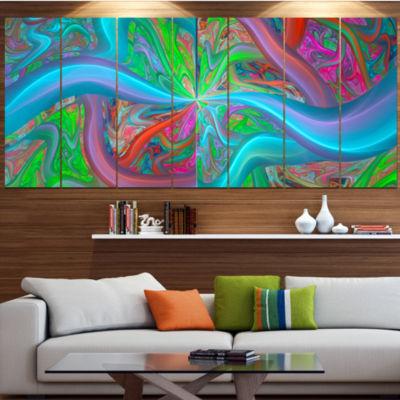 Designart Blue Green Fractal Curves Abstract Canvas Art Print - 4 Panels