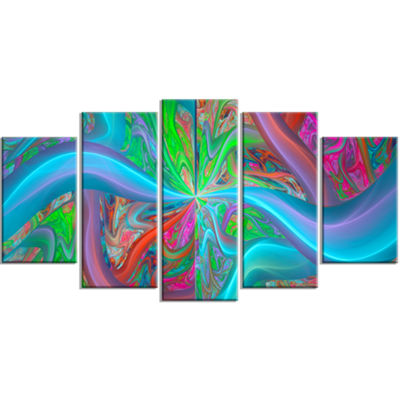Designart Blue Green Fractal Curves ContemporaryCanvas ArtPrint - 5 Panels