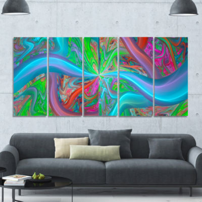Blue Green Fractal Curves Abstract Canvas Art Print - 5 Panels