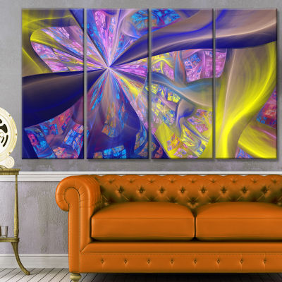 Purple Yellow Fractal Curves Abstract Canvas Art Print - 4 Panels