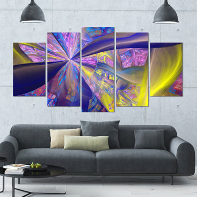 Purple Yellow Fractal Curves Contemporary Canvas Art Print - 5 Panels