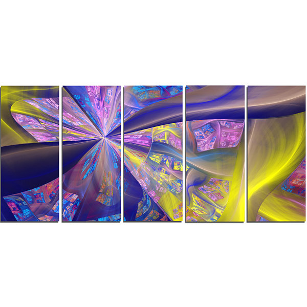 Purple Yellow Fractal Curves Abstract Canvas Art Print - 5 Panels
