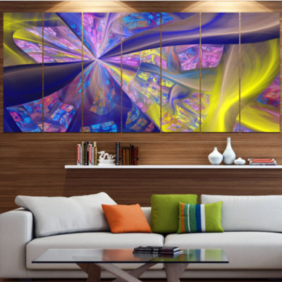 Purple Yellow Fractal Curves Abstract Canvas Art Print - 6 Panels