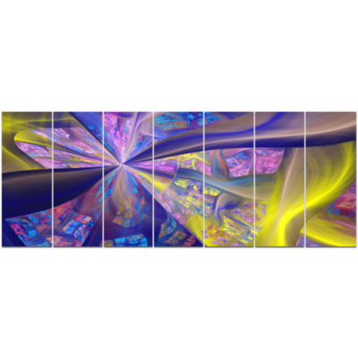 Purple Yellow Fractal Curves Abstract Canvas Art Print - 7 Panels