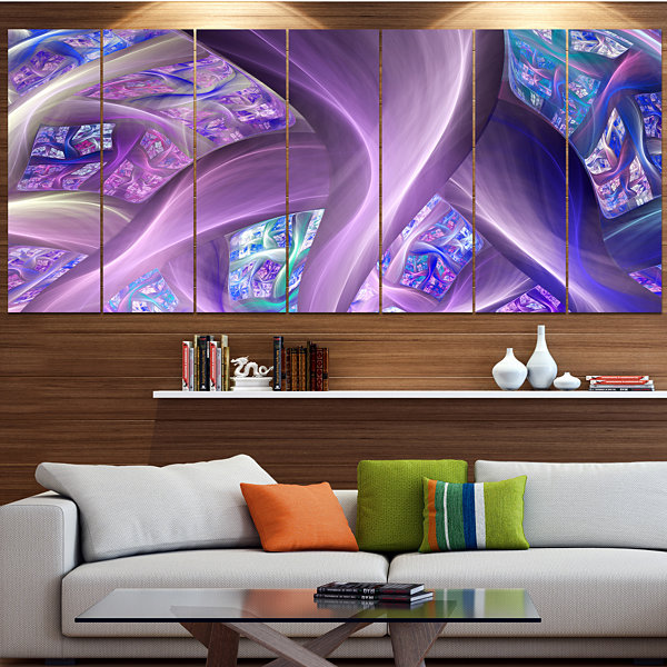 Purple Blue Fractal Curves Abstract Canvas Art Print - 5 Panels