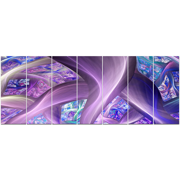 Purple Blue Fractal Curves Abstract Canvas Art Print - 7 Panels