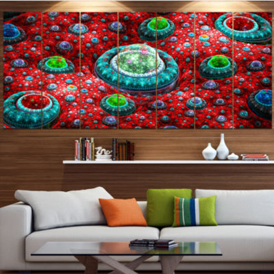 Red Fractal Exotic Planet Abstract Canvas Art Print - 4 Panels