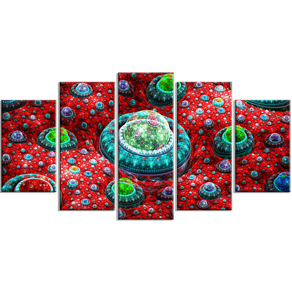 Red Fractal Exotic Planet Contemporary Canvas ArtPrint - 5 Panels