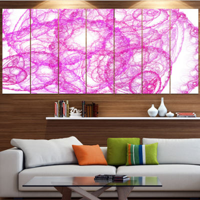 Pink Pattern On White Background Abstract Canvas Art Print - 5 Panels