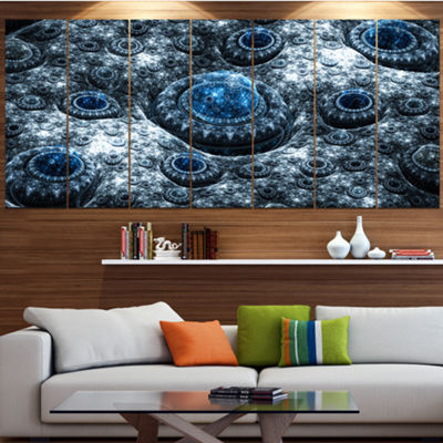 Designart Blue Fractal Exotic Planet Abstract Canvas Art Print - 7 Panels