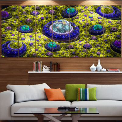 Yellow Fractal Exotic Planet Abstract Canvas Art Print - 4 Panels