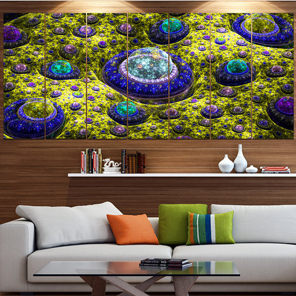 Yellow Fractal Exotic Planet Contemporary Canvas Art Print - 5 Panels