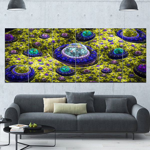 Yellow Fractal Exotic Planet Abstract Canvas Art Print - 6 Panels