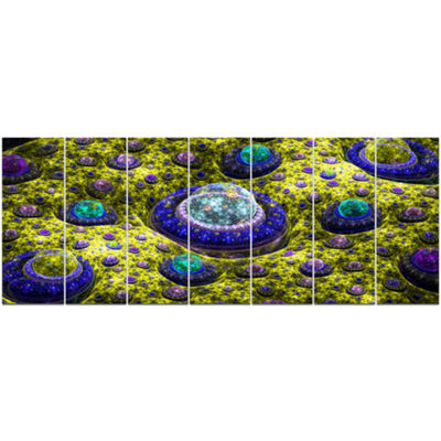 Yellow Fractal Exotic Planet Abstract Canvas Art Print - 7 Panels