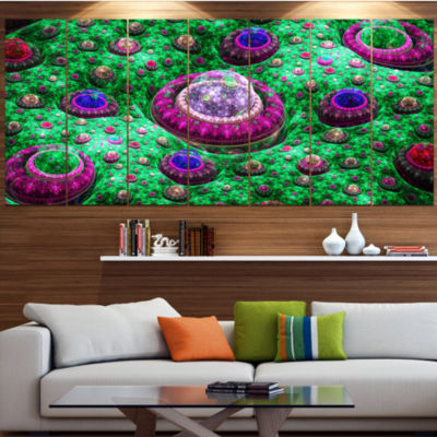Green Fractal Exotic Planet Abstract Canvas Art Print - 4 Panels