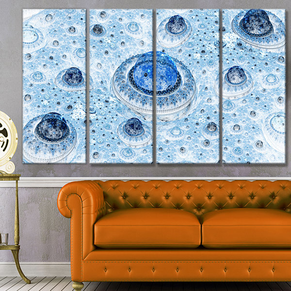 Light Blue Fractal Exotic Planet Abstract Canvas Art Print - 4 Panels