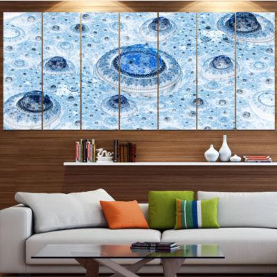 Light Blue Fractal Exotic Planet Contemporary Canvas Art Print - 5 Panels