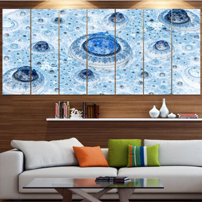 Light Blue Fractal Exotic Planet Abstract Canvas Art Print - 7 Panels