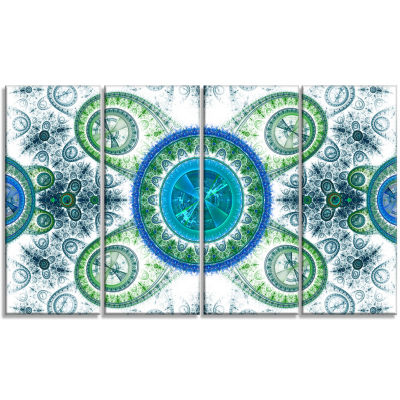 Blue Psychedelic Relaxing Art Abstract Canvas ArtPrint - 4 Panels