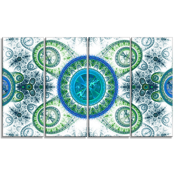 Designart Blue Psychedelic Relaxing Art AbstractCanvas ArtPrint - 4 Panels