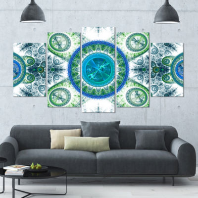 Blue Psychedelic Relaxing Art Contemporary CanvasArt Print - 5 Panels
