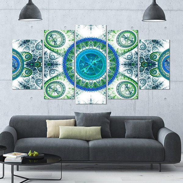 Designart Blue Psychedelic Relaxing Art Contemporary CanvasArt Print - 5 Panels