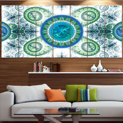 Designart Blue Psychedelic Relaxing Art AbstractCanvas ArtPrint - 6 Panels