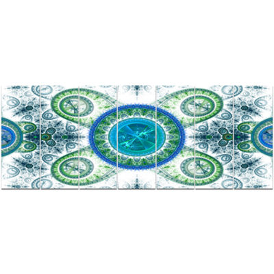Designart Blue Psychedelic Relaxing Art AbstractCanvas ArtPrint - 7 Panels