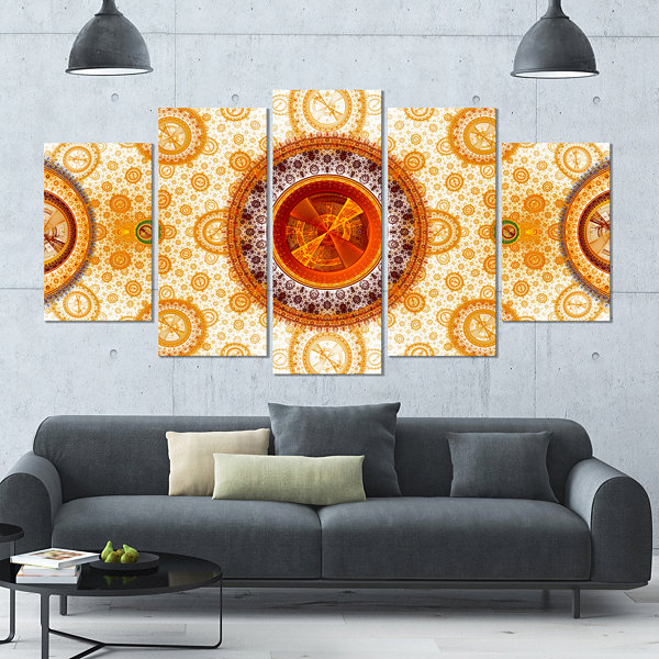 Yellow Psychedelic Relaxing Art Contemporary Canvas Art Print - 5 Panels