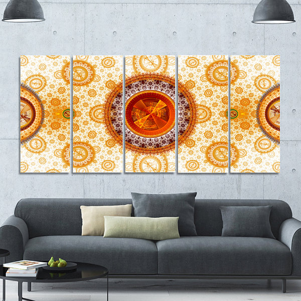 Yellow Psychedelic Relaxing Art Abstract Canvas Art Print - 5 Panels