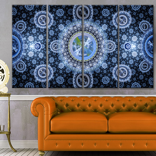 Designart Clear Blue Psychedelic Relaxing Art Abstract Canvas Art Print - 4 Panels