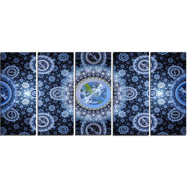 Designart Clear Blue Psychedelic Relaxing Art Abstract Canvas Art Print - 5 Panels