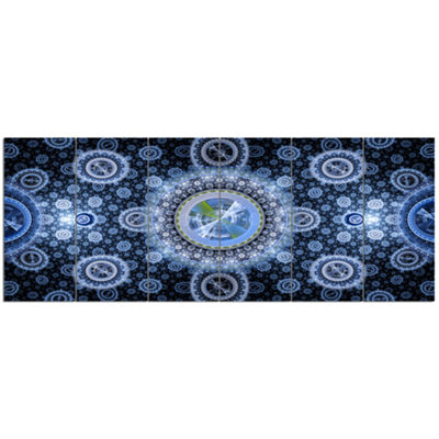 Designart Clear Blue Psychedelic Relaxing Art Abstract Canvas Art Print - 6 Panels