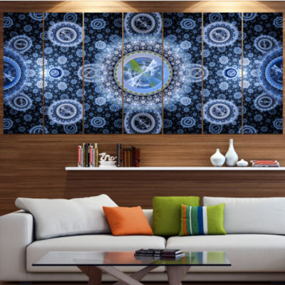 Designart Clear Blue Psychedelic Relaxing Art Abstract Canvas Art Print - 7 Panels