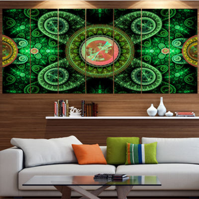 Green Psychedelic Relaxing Art Contemporary CanvasArt Print - 5 Panels