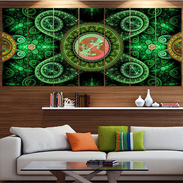 Green Psychedelic Relaxing Art Abstract Canvas ArtPrint - 5 Panels