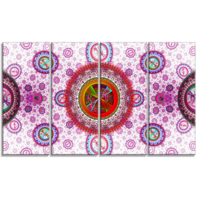 Pink Psychedelic Relaxing Art Abstract Canvas ArtPrint - 4 Panels