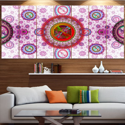 Pink Psychedelic Relaxing Art Contemporary CanvasArt Print - 5 Panels